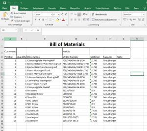 Ergebnis in Excel mit Verwendung der Direktschnittstelle von EMX