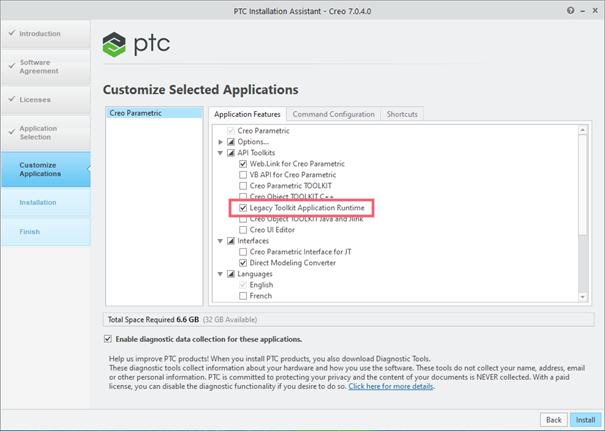 Creo Parametric Installer - Legacy Toolkit Application Runtime checkbox